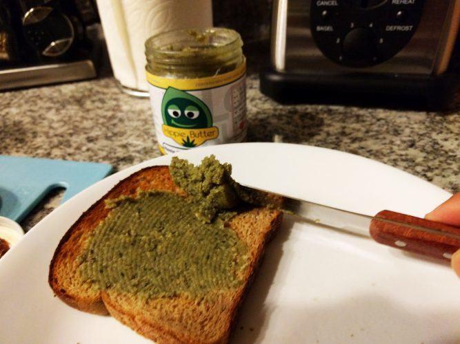 Spreading Gourmet Hemp Butter on Bread
