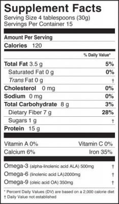 Hemp Protein Powder Nutrition Label