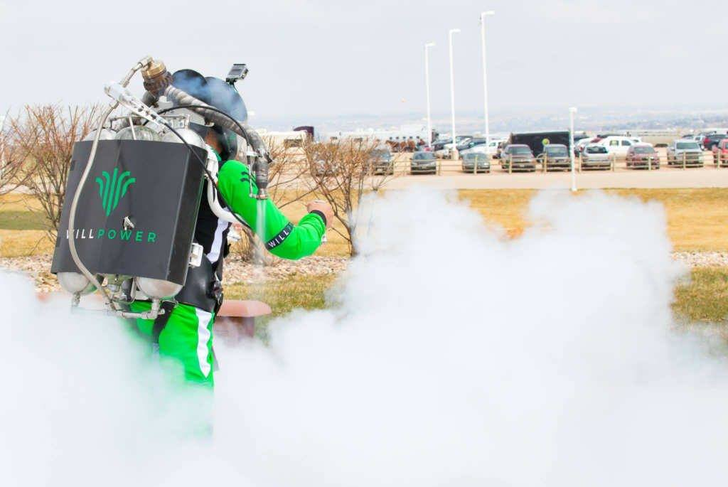 Apollo Flight Labs jetpack branded with the Willpower Products logo takes off at NoCo Hemp Expo