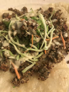 Combine Hemp Way Foods' hemp burger crumbles with hemp pesto aioli and other fresh ingredients for a delicious taco dinner.