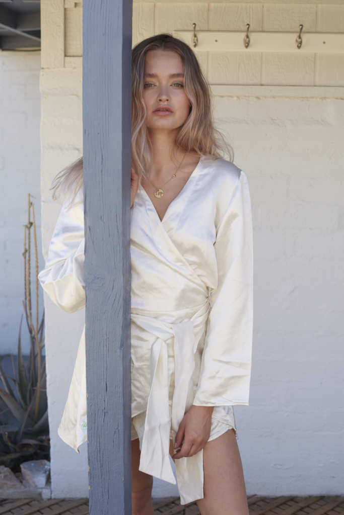 Zoey Kay models the Hemp Horizon hemp silk wrap shirt. Hemp Horizon creates comfortable, elegant women's hemp fashion, and is now expanding into menswear too.