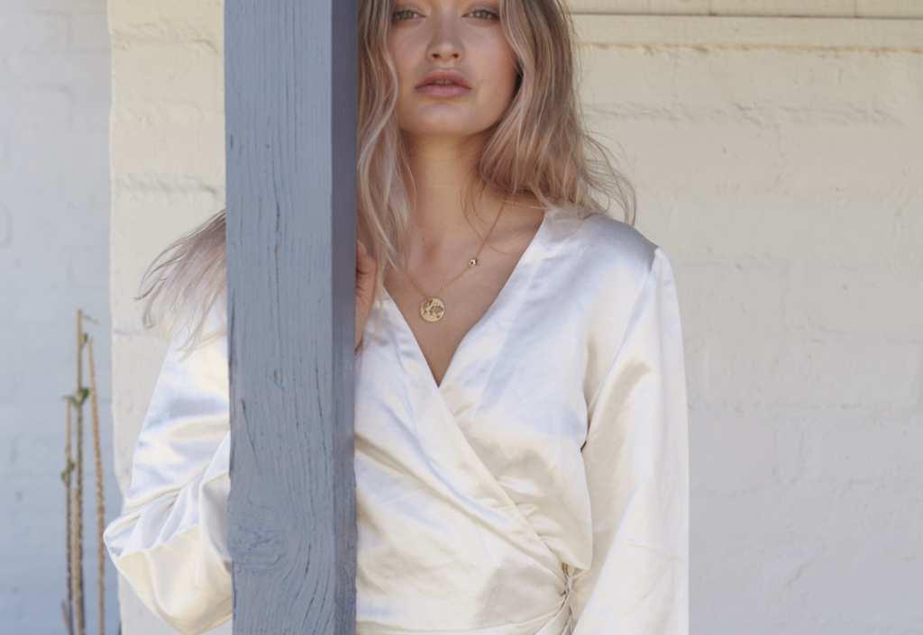 A model dressed in Hemp Horizon's flowing silky hemp shirt. Hemp Horizon is changing the way people think about women's hemp fashion.