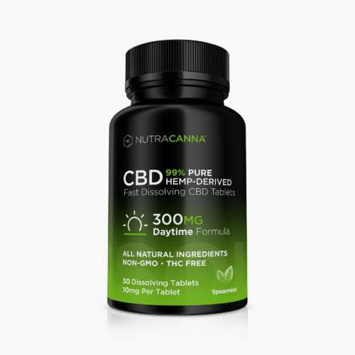 NutraCanna Dissolvable CBD Tablets have a strong but not overpowering peppermint flavor and dissolve quickly when placed in the mouth.