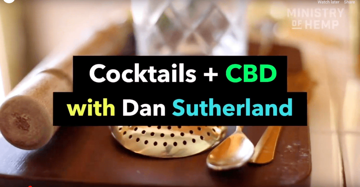 Video screenshot: Cocktails + CBD with Dan Sutherland. Ministry of Hemp and PlusCBD teamed up to bring you this CBD cocktail recipe.
