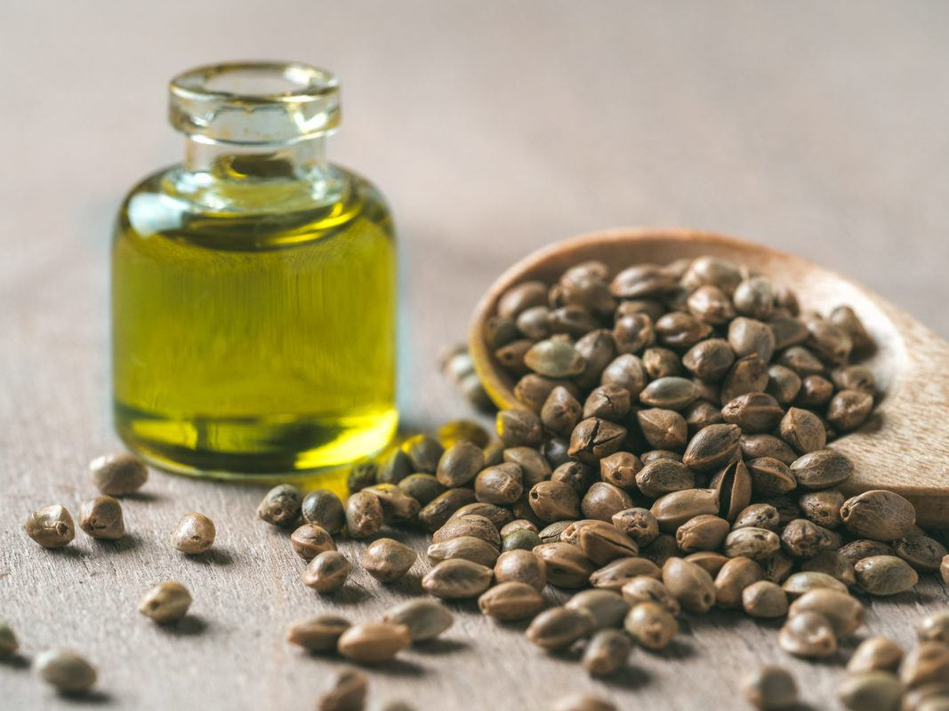 A bottle of hemp oil with an overflowing spoon of hemp seeds. Packed with vitamins and amino acids, hmp oil is a great choice for skincare. Even better, hemp oil wont clog pores.