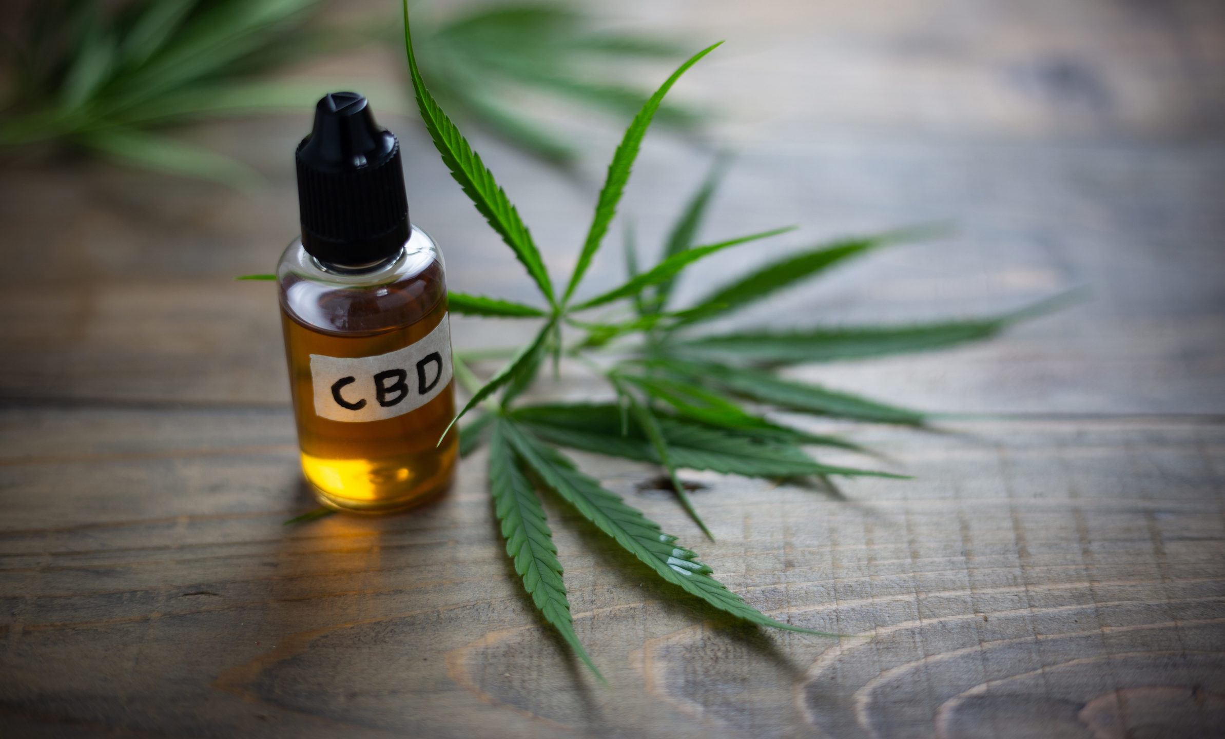 "Our CBD buying guide will help you buy the right CBD oil for your needs. Photo: A dropper bottle of amber liquid, labeled ""CBD,"" rests on a wooden table near some hemp leaves."