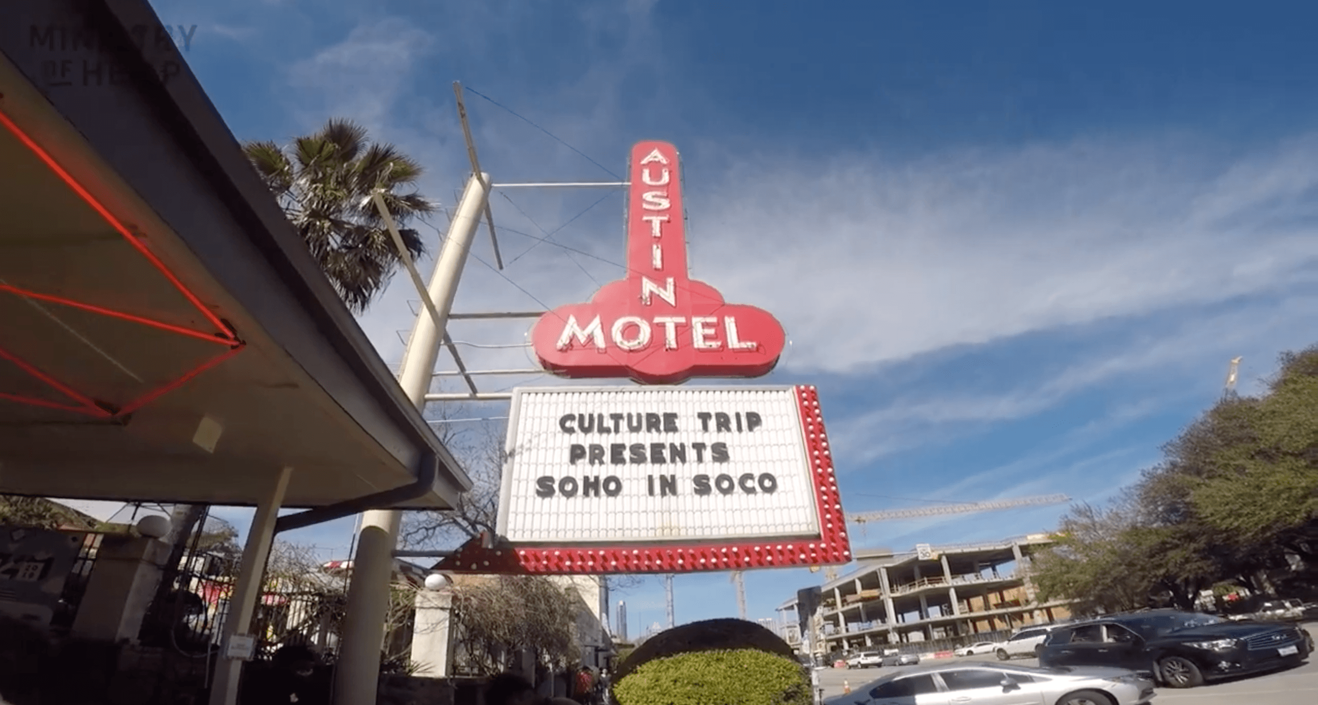 We got CBD facials from two women-owned Austin, Texas businesses at SXSW during the Culture Trip activation. Photo: The sign for Austin Motel, in Austin, Texas with a marquee advertising Culture Trip Presents SoHo in SoCo.