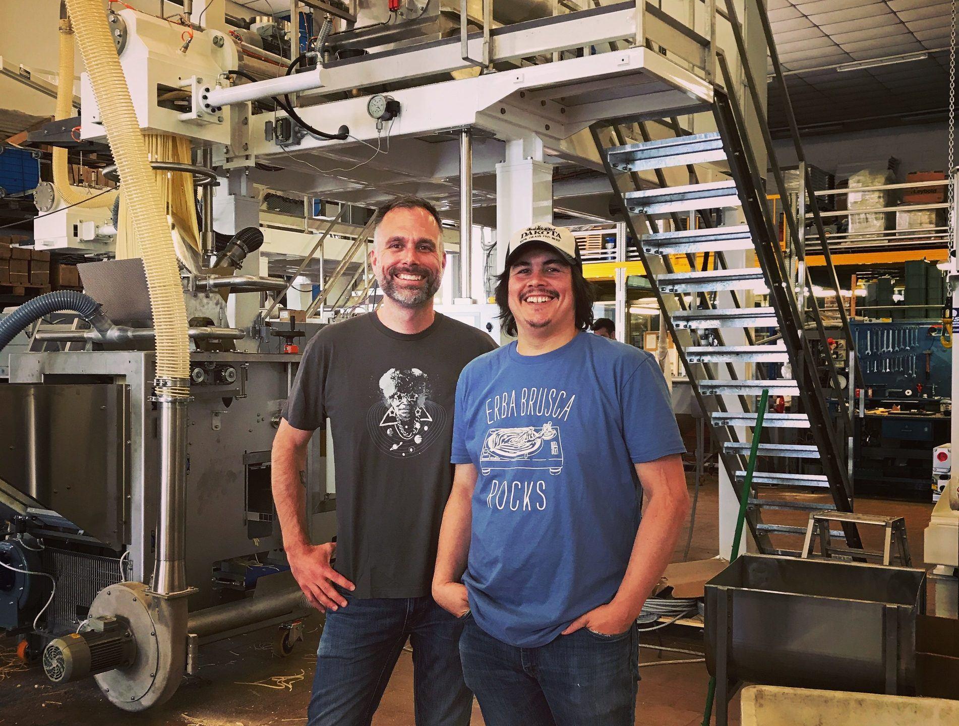 Sfoglini founders Steve Gonzalez and Scott Ketchum pose in their pasta factory. Sfoglini founders Steve Gonzalez and Scott Ketchum created their unique hemp pasta after visiting an organic hemp farm in New York state.