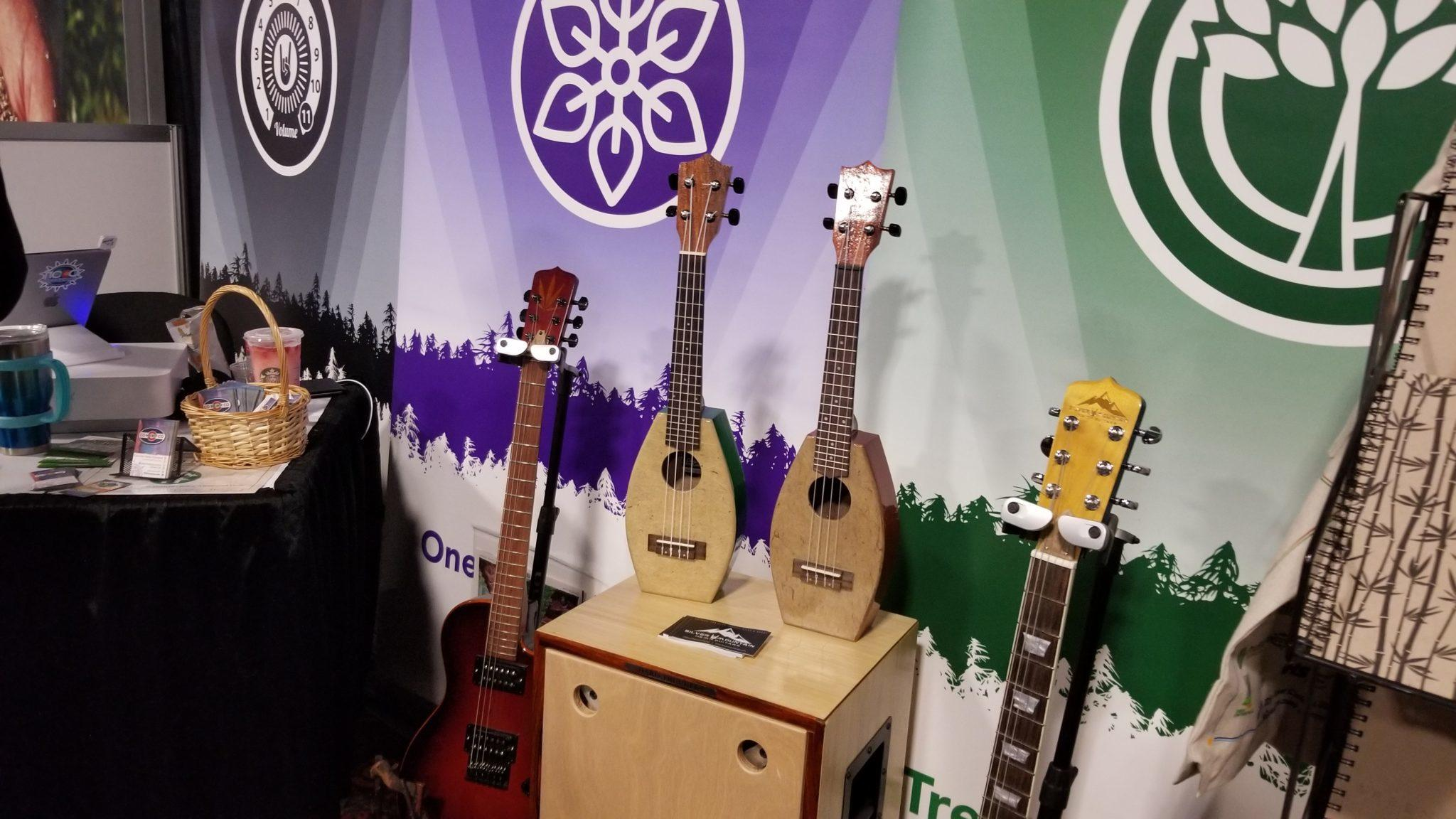 Photo: Hemp guitars and a hemp ukelele from Silver Mountain Hemp Guitars, on display at NoCo 6, the 2019 Noco Hemp Expo in Denver, Colorado.
