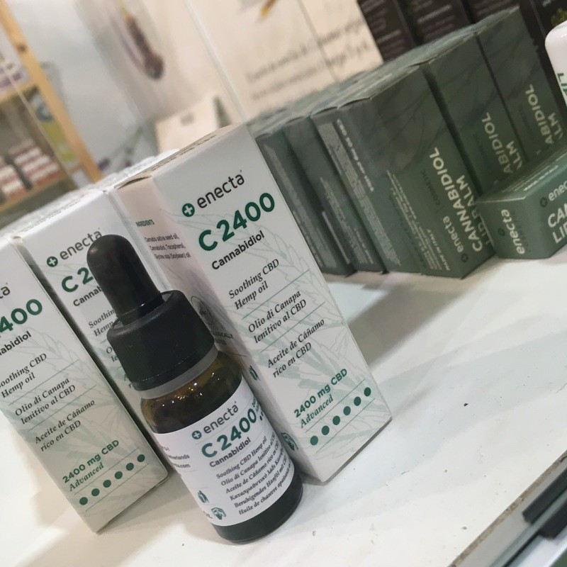 Due to the EU's Novel Food Act, CBD Oil for human consumption was banned from this year's Spannabis but oils for topical use were allowed. Photo: A collection of topical CBD oils available at the Spannabis expo.