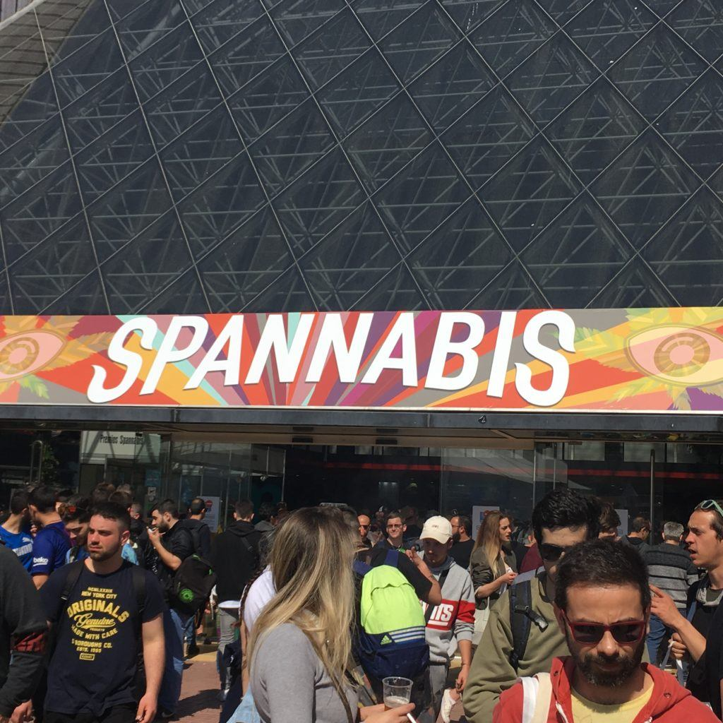 Spannabis is Spain's largest cultivator event attracting a mix of industrial and hobbyist growers as well as cannabis advocates and users. Photo: Dozens of people crowd around the entrance to the Spannabis convention.