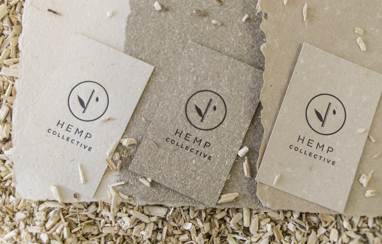 Photo: Three different colors and textures of hemp paper from Hemp Collective.