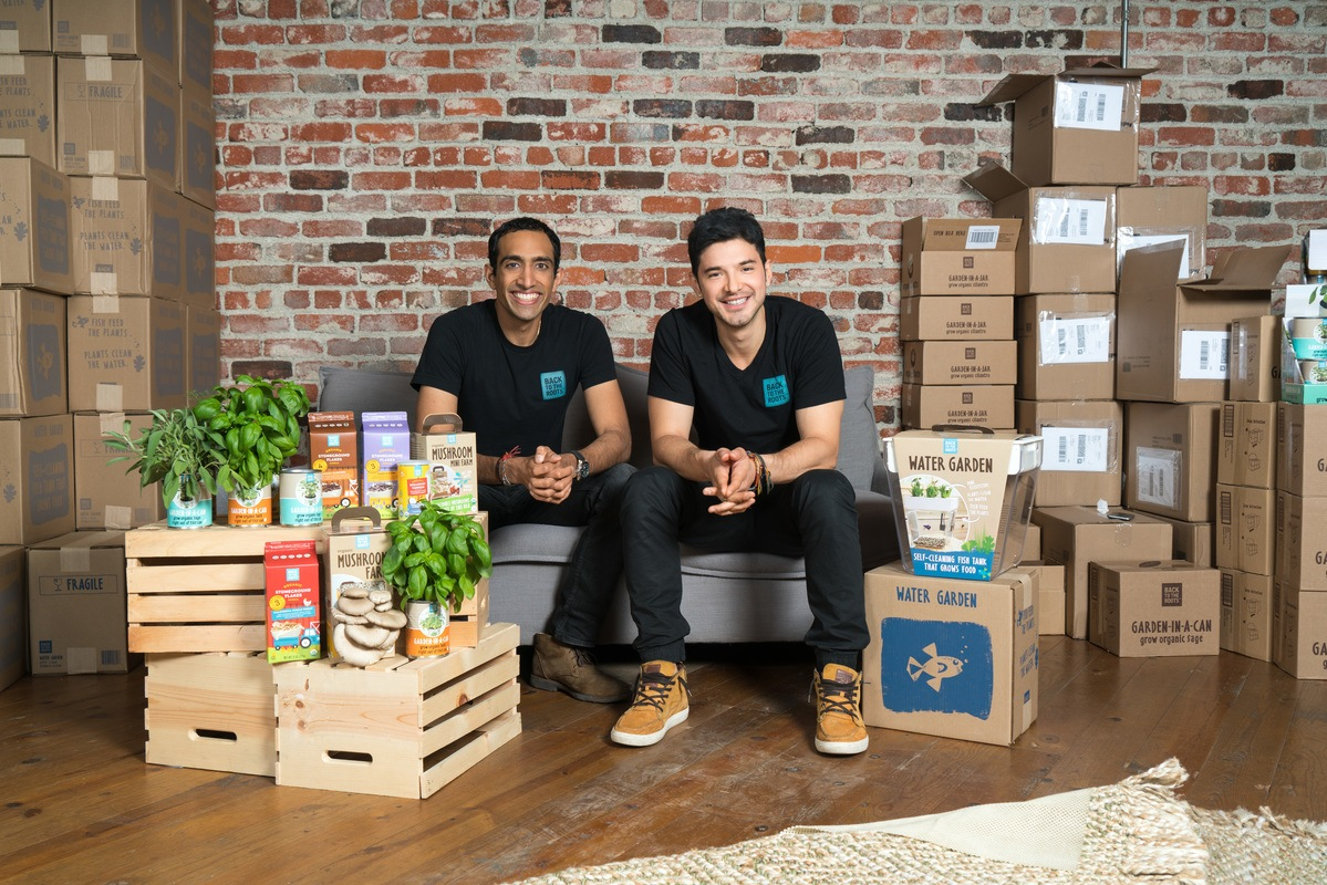 Photos: Founders Alex and Nikhil pose with Back to the Roots home growing kits.