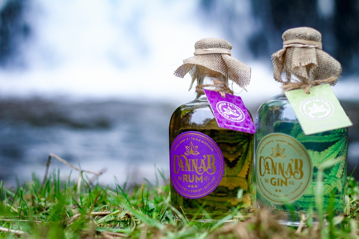 Photo: Two bottles of CBD liquor posed in front of a waterfall: CBD-infused gin and CBD-infused rum.