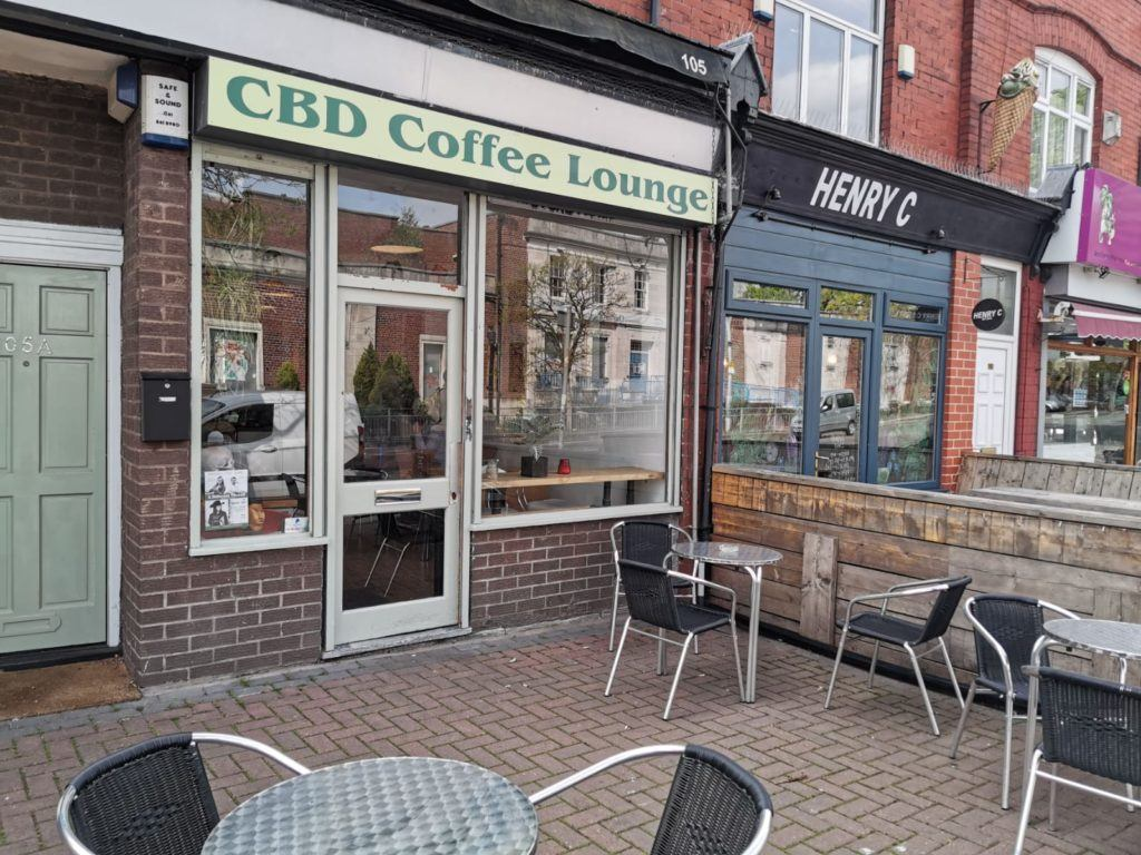 Exterior of CBD Coffee Lounge in Manchester, UK