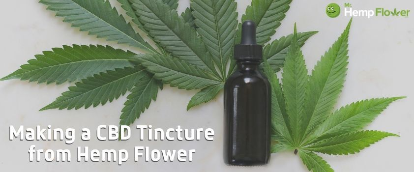 Making CBD Oil at home. Photo shows hemp leaves and a tincture bottle with text Making A CBD Tincture from Hemp Flower.