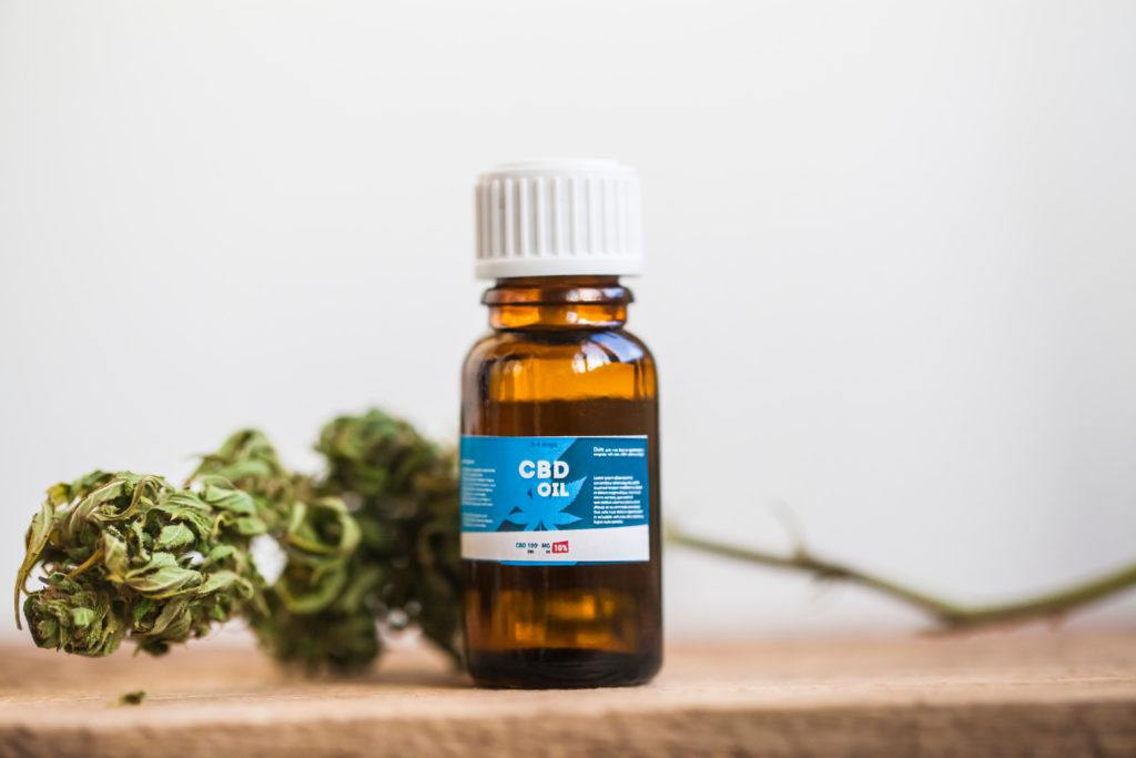 Editor Kit and Host Matt respond to CBD questions in the Ministry of Hemp Podcast. Photo: A generic bottle of CBD oil with a hemp bud attached to a long stem.