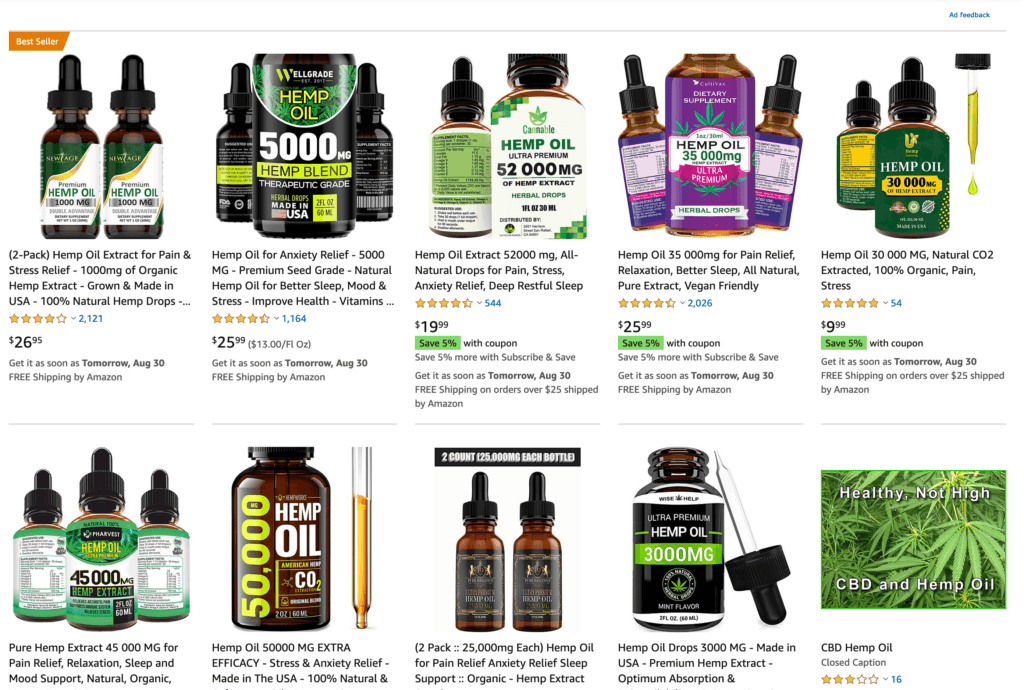 Screenshot showing various fake cannabidiol products sold on Amazon in impossibly strong potency such as 25,000mg of CBD in a one ounce bottle.