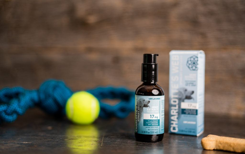 Win Charlotte's Web CBD Oil for Dogs in this Ministry of Hemp giveaway. Photo: Charlotte's Web CBD Oil for Dogs posed with a leash, dog biscuit and tennis ball.