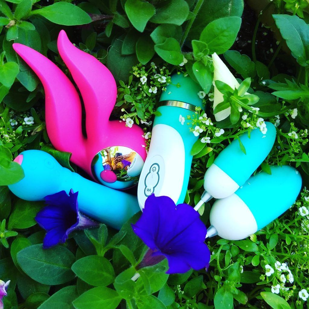 A collection of EngErotics intimate toys arrangethes in a bed of ivy.