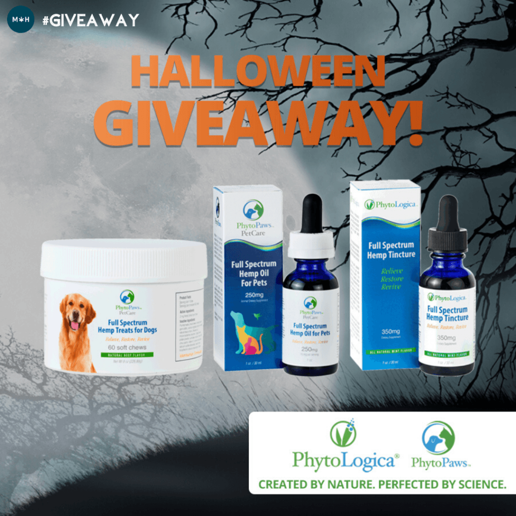 It's spooky season but there's nothing scary about this great PhytoLogica giveaway. Photo shows PhytoLogica products against a background of a moon and night time trees.