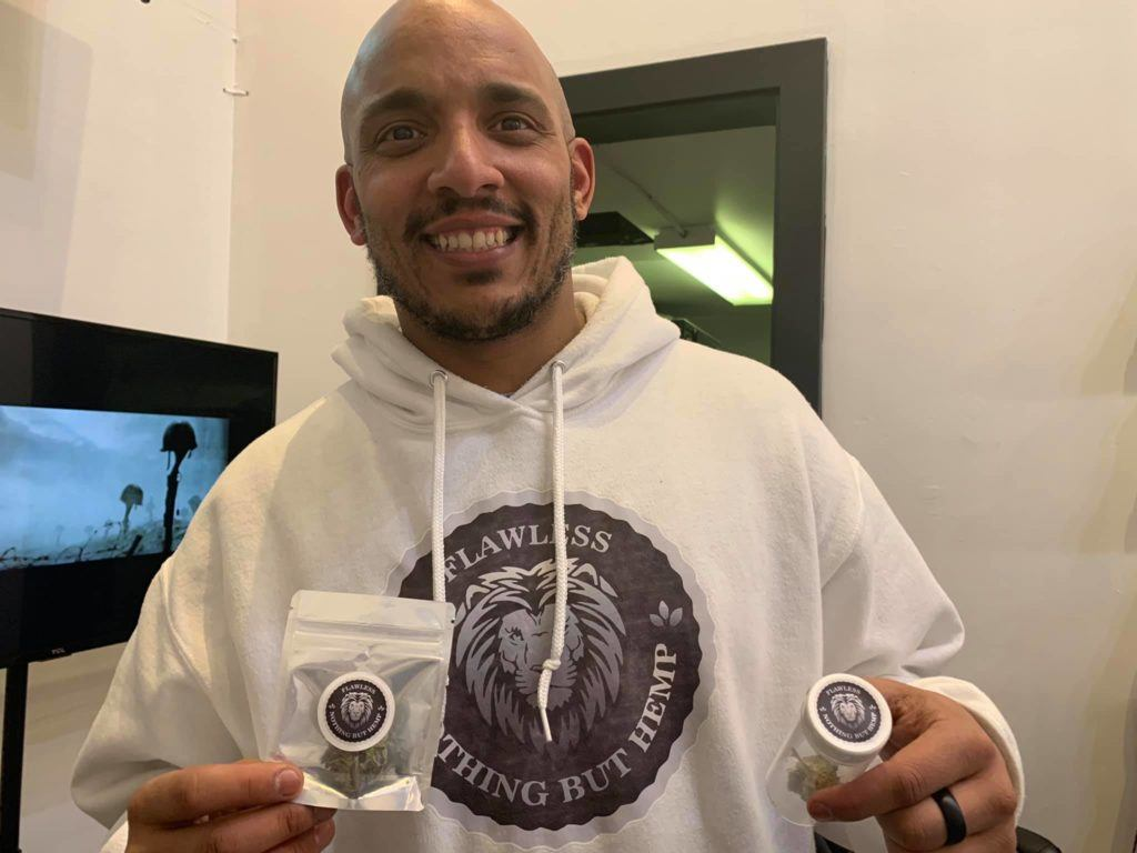 Giovan Jenkins of Nothing But Hemp poses with some of the company's products. Why aren't there more black people and minority representation in general in the hemp industry? (Facebook / Nothing But Hemp)