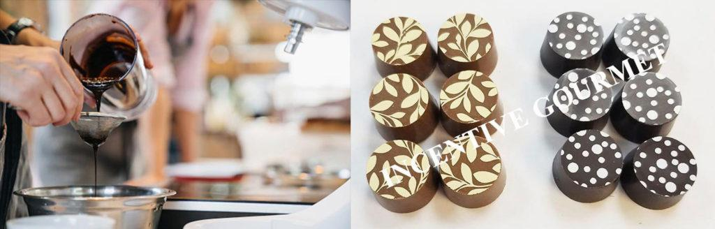 Photo: A composite photo shows a person carefully pouring chocolate during the manufacturing process, and two sets of Incentive Gourmet CBD chocolates.