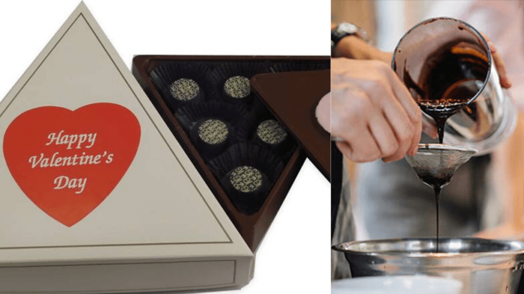 Incentive Gourmet combines quality full spectrum hemp extract with top quality chocolate to make their unique and delicious CBD chocolates. A composite image shows, on the left, Incentive Gourmet's Valentine's Day Chocolate box, full of CBD chocolates. On the right, a hand pours liquid chocolate during manufacturing.