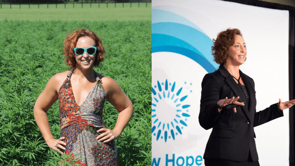Recognizing the need for CBD education, PlusCBD Oil hired Maggie Frank to clear up misconceptions and inform the public about hemp. Photo: In a composite photo, CBD educator Maggie Frank poses, hands on hips, in a hemp field at left and, on the right, gestures as she offers CBD education on a conference stage.