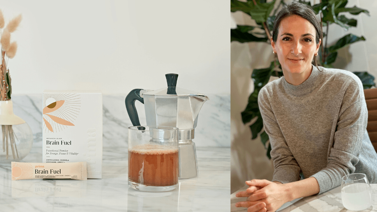 Photo: A composite photo showing a Prima powdered CBD drink mix, made in a clear tea mug using hot water from a kettle, all sitting on a kitchen counter. On the right, Prima CEO Laurel Angelica Myers poses, smiling, with folded hands.