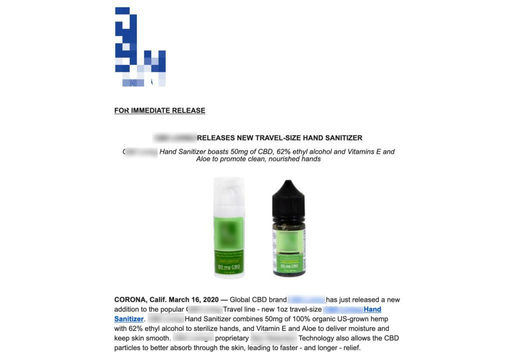 """Photo: Screenshot of a press release advertising a brand's new """"CBD infused hand sanitizer."""""""