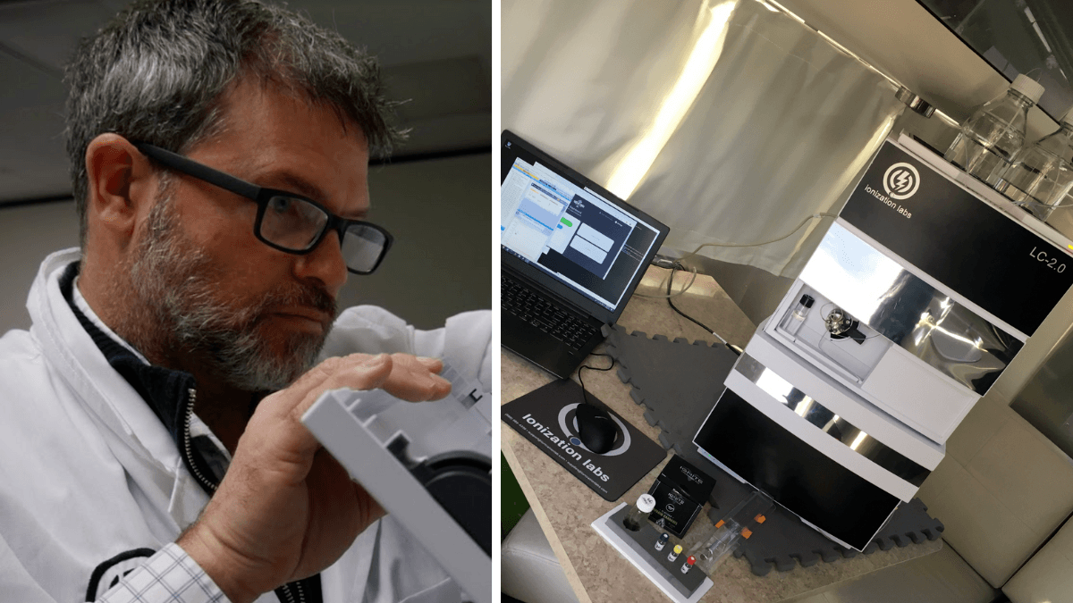 The Cann-ID system from Ionization Labs aims to make hemp and cannabis testing easy, affordable and quick. Photo: A composite image shows Cree Crawford working in a lab coat at left, and Ionization Labs cannabiss testing equipment to the right.
