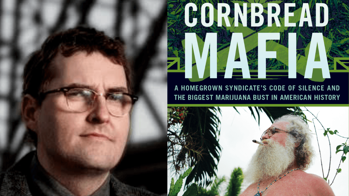 Jim Higdon joined the Ministry of Hemp Podcast to talk about Kentucky Hemp and his books. Photo: A composite photo showing Jim Higdon and the cover of the book Cornbread Mafia.