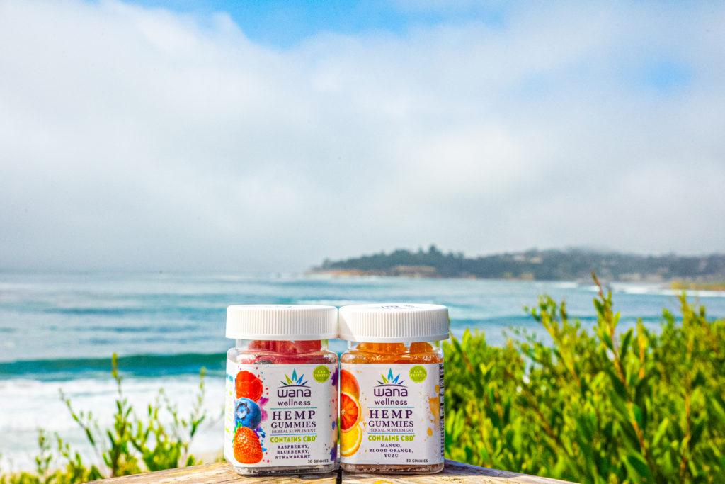 Photo: Two bottles of Wana Wellness gummies posed by the beach, with beach plants and waves crashing on shore in the background.