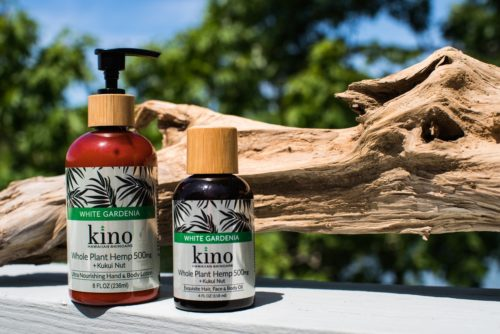 Photo: Kino White Gardenia Hemp skin care products create soothing self-care for cracked skin during isolation.