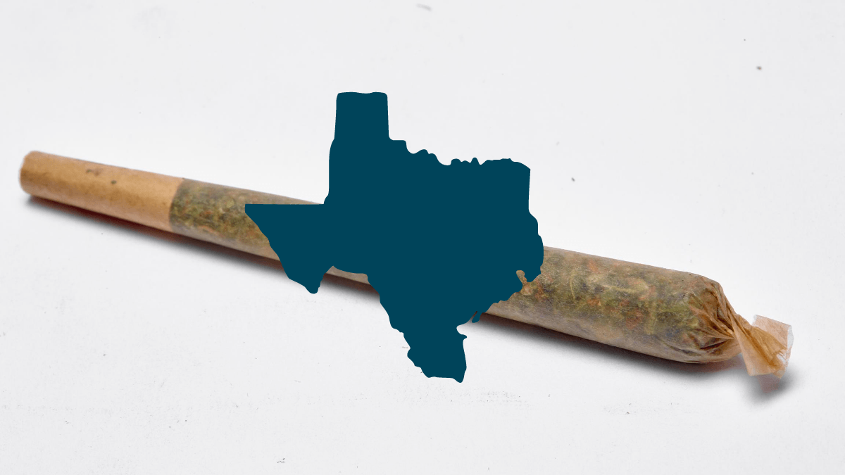 """The Texas hemp flower ban could cost the Lone Star state millions in tax revenue. Photo: A photo of a """"pre-roll"""" hemp joint, super-imposed with a green drawing of the state of Texas."""