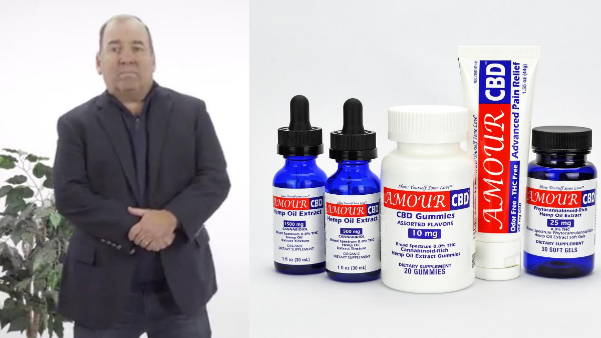 Photo: A composite image shows Ed Donnelly posing in a suit (left) with his Amour CBD produts, including his FDA registered topical product.