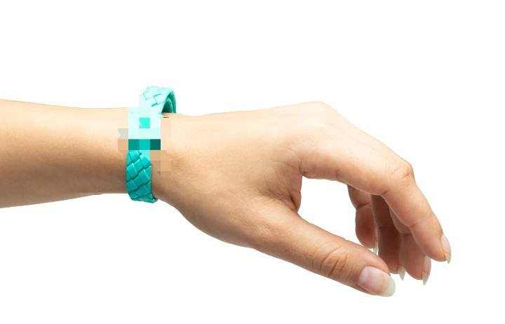 A CBD-infused plastic bracelet. The science behind how a CBD bracelet actually works is murky at best.
