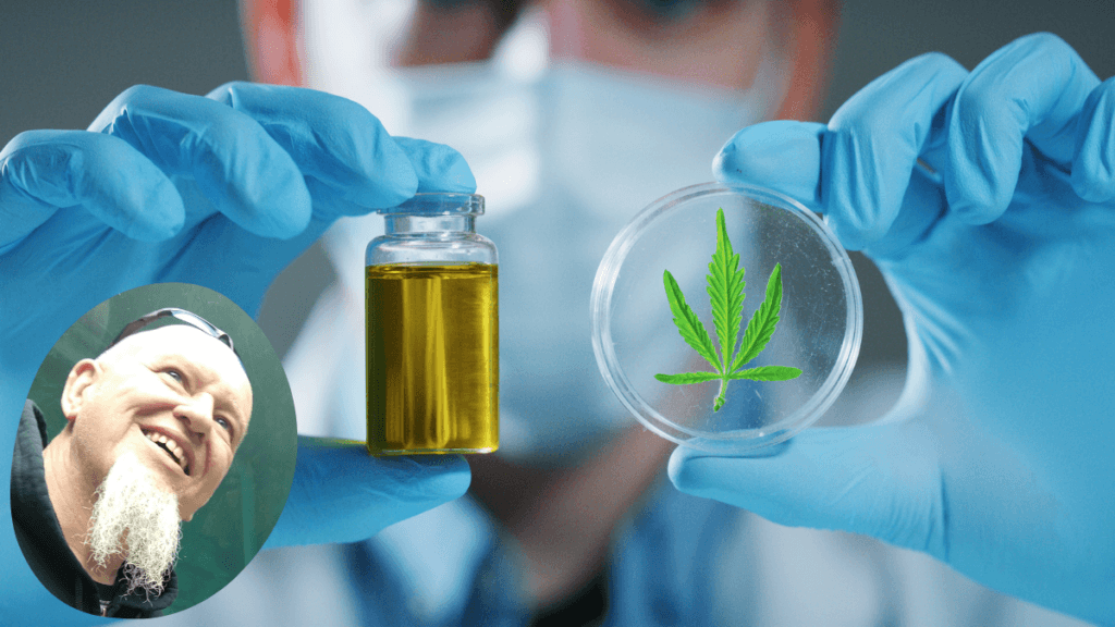 A composite photo showing a scientist in gloves and a mask holding up a vial of CBD oil and a hemp leaf in a petri dish. A head shot of Pat Reynolds, the show's guest, is in a round insert to the main photo. Pat comes on the podcast to discuss the importance of CBD testing to identify safe and accurately labeled products.