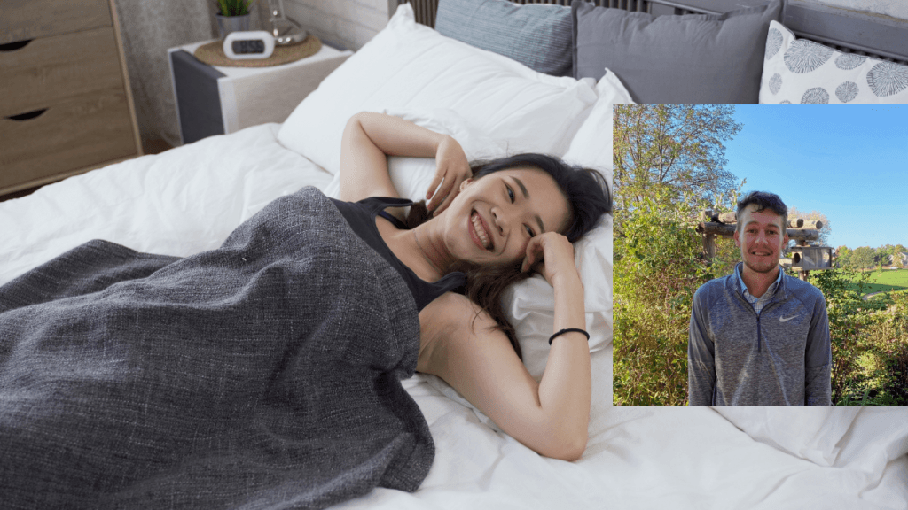 A photo of a Korean woman waking up from sleep in bed with a joyful, rested expresson. In an insert, Ethan Carr of Slumber CBN is seen outside, smiling.