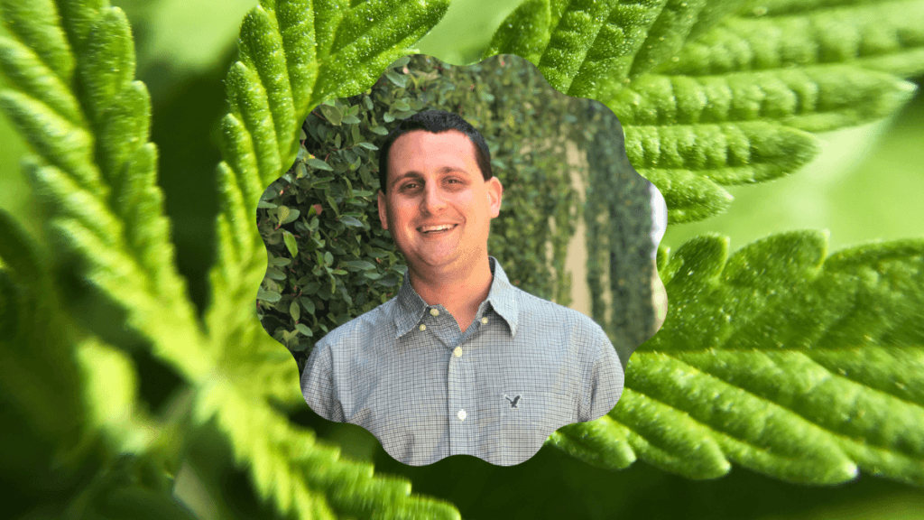 A photo of a close-up of a green hemp leaf, with a head shot of hemp lobbyist Evan Nison appearing in the center. Evan joined the Ministry of Hemp podcast to discuss how hemp lobbying differs from cannabis advocacy.