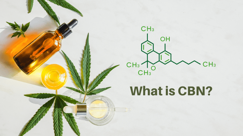 CBN is a cannabinoid found in hemp and cannabis with unique health benefits. An arrangement of generic tincture bottles with hemp leaves, and an image of the CBN molecule, with the words What is CBN? in green text.