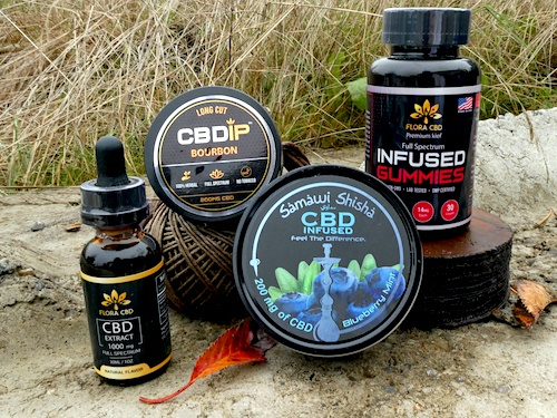 An array of Flora CBD products available under the Black Friday sale including CBD oil, gummies, CBD dip and CBD shisha.