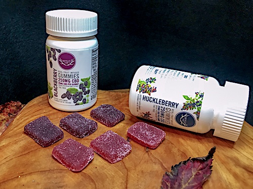 Two bottles of WYLD CBD in Blackberry and Huckleberry flavors gummies arranged next to samples of both. They are placed on a wooden surface, decorated with a leaf.