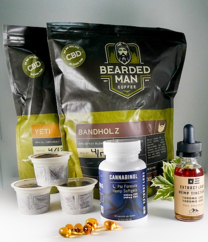 Sampler of Extract Labs products including gummies, tincture and CBD-infused coffee.