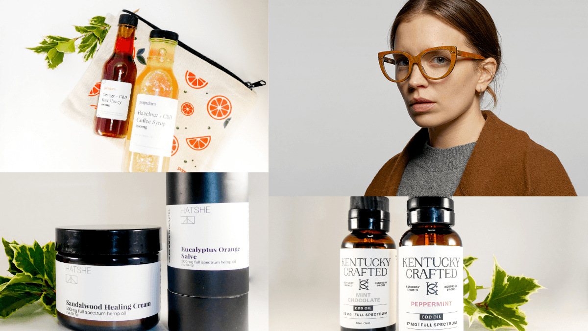 Some of the products featured in Ministry of Hemp's 2020 CBD and Hemp Gift Guide, including hemp eyewear, CBD coffee syrup, topicals and more.