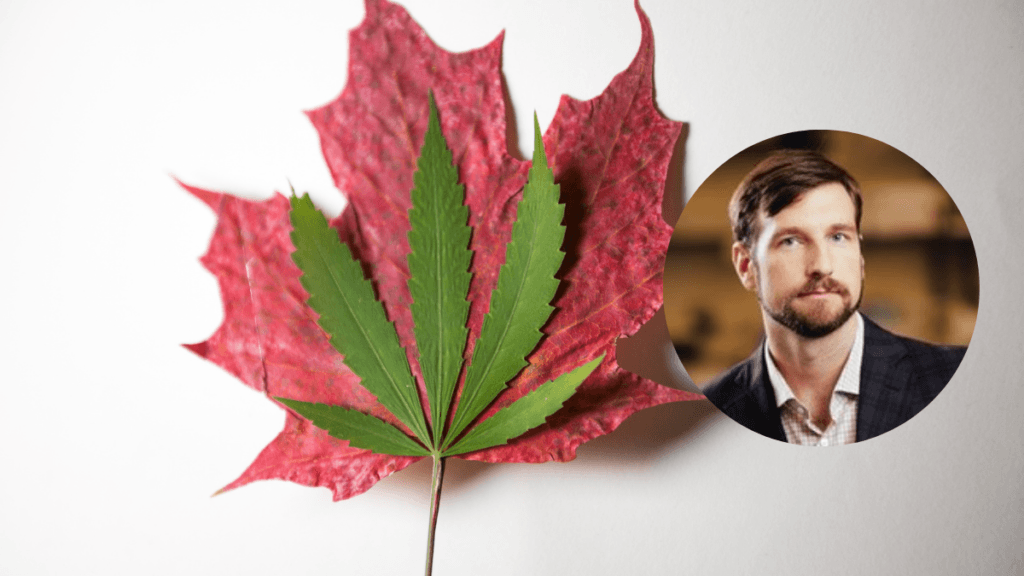 A photo of a hemp leaf on top of a red maple leaf, symbolizing Canadian hemp. In a bubble insert, a headshot of Tomas Skrinskas, CEO of Ascension Sciences.